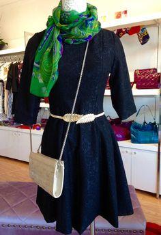 Elegant outfit! #black #dress  #green #elegant #scarf# clutch #leather #eel #skin