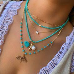 Jewelry Logo, Bead Jewellery, Heart Jewelry, Cute Jewelry, Jewelry Design, Diy Jewelry To Sell, Accesorios Casual, Layered Jewelry, Pretty Necklaces