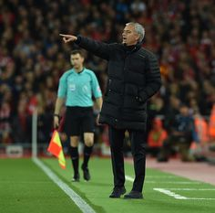 Jose Mourinho Manager of Manchester United during the Premier League match between Liverpool and Manchester United at Anfield on October 17 2016 in...