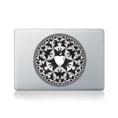 Escher Bat Mandala Macbook Sticker #design #macbook #macbookstickers #pimpmymacbook #decals #stickers #vinyl #DIY #laptop #escher #bat #mandalas