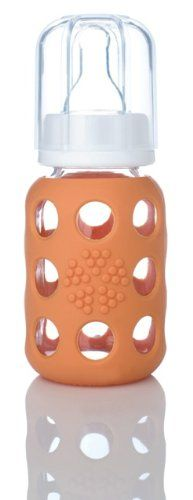 Love these. In anything but pink or purple, of course. :: Lifefactory Glass Baby Bottle with Silicone Sleeve Orange, 4 Ounce Lifefactory http://www.amazon.com/dp/B001J8FEXK/ref=cm_sw_r_pi_dp_YOtZtb022HGRSGC4