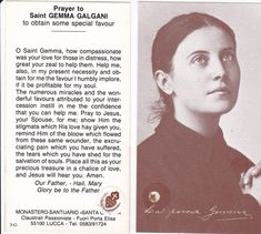 prayer card for saint gemma galgani | ... prize two st gemma relic cards from the monastery of st gemma in lucca