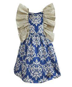 Blue Velvet Damask Flutter Dress - Infant Toddler & Girls