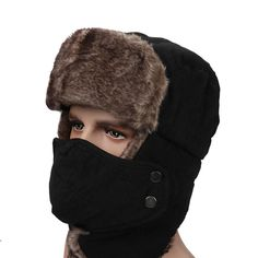 0ae955b7f02 Mens Peach Skin Velvet Winter Aviator Hats Outdoor Skiing Windproof With  Masks Russian Lei Feng Caps