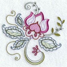 Jacobean Flower embroidered