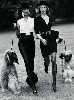 french style - dog walking with black and white style - - classic and timeless style!