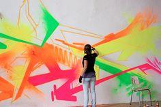 madc neon graffiti painting