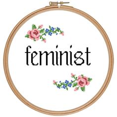 Feminist cross stitch pattern pdf von feminism a womans place is in the revolution anti trump grow a pair funny mature subversive flowers roses cross stitch girlpower girl power sign quote living room hallway decoration kitchen