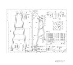 Gantry plans pdf and dwg papacad.com Crane Drawing, Technical Documentation, Crane Design, Autodesk Inventor, Gantry Crane, 3d Cad Models, Technical Drawing, Autocad, Engine