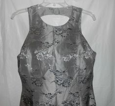 ADRIANNA PAPELL Semi-Formal Party Dress Silver Gray Flora Women Sz 14 #AdriannaPapell #Cocktail - http://stores.ebay.com/vickysclothingandmore