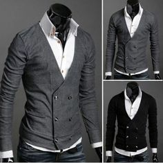 0119c81c236 menswear - mens slim casual stylish knitwear mens cotton v-neck cardigan double  breasted outwear black  grey