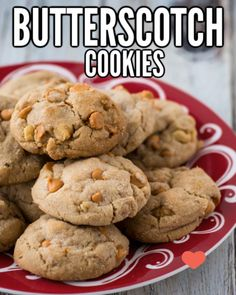 This recipe for chewy Butterscotch Cookies with pecans is delicious! Brown sugar and butter combine with butterscotch chips to give the cookies a delicate and rich taste. These are perfect for a holiday cookie exchange and sure to make your friends ask fo Butterscotch Cookies, Pecan Cookies, Yummy Cookies, Oatmeal Cookies, Chip Cookies, Sugar Cookies, Yummy Treats, Sweet Treats, Unique Desserts