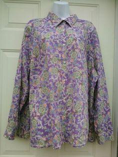 Lauren Ralph Lauren Plus Size 3X Top Pretty Purple Floral Light Cotton Shirt LS