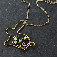 this necklace can be made as Easter present. The main pattern of the necklace is a bunny. The making process of the pendant necklace is twisting wires. So, it is very easy to make.
