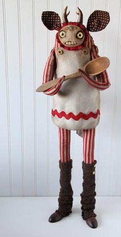 The Baker - Art Doll by Amanda Louise Spayd Creepy Toys, Creepy Cute, Scary, Monster Dolls, Monster Art, Creepy Monster, Gothic Dolls, Voodoo Dolls, Toy Art