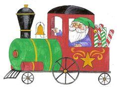 CHRISTMAS ELF TRAIN CLIP ART