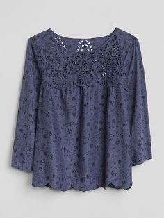 Gap Womens Eyelet Long Sleeve Print Blouse - Navy Floral S Printed Blouse, Designer Dresses, Plus Size, Gap, Knitting, My Style, Long Sleeve, Blouses, Floral