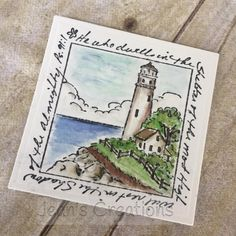 Art Impressions: Windows to the World M3175 – Lighthouse Window Handmade card.