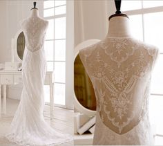 Claire Pettibone Inspired Lace Wedding Dress Open See through Back Mermaid Dress
