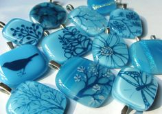 Fused glass pendants.