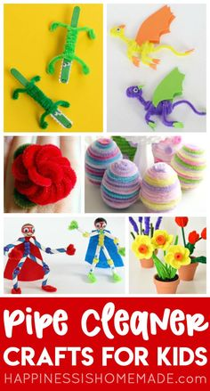 These easy Pipe Cleaner Crafts are sure to be a huge hit with kids of all ages!  Learn how to make pipe cleaner animals, flowers, jewelry, and more!