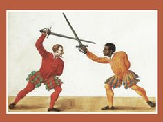 """Français : Paulus Hector Mair.- A fencer of African descent, wielding an early rapier or """"sidesword"""", De arte athletica, published in Augsburg, Germany, ca 1542. - rapier"""