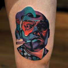 Raoul Duke from Fear And Loathing in Las Vegas high on life. Tattoo Artist: David Côté