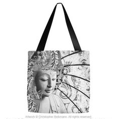 """Extra Large 18"""" Black and White Buddha Tote Bag - Bliss of Being - Fusion Idol - Art and Gifts by Artist Christopher Beikmann"""
