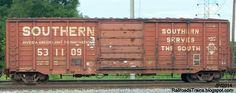 RAILROAD Freight Train Locomotive Engine EMD GE Boxcar BNSF,CSX,FEC,Norfolk Southern,UP,CN,CP,Map : SOU SOUTHERN RAILWAY BOXCARS Single Door Macon Georgia, Southern Railway Serves The South Railroad Train Box Car Railcar Macon GA.