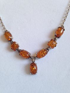 Vintage Amber Statement Necklace by juliesringsandthings on Etsy