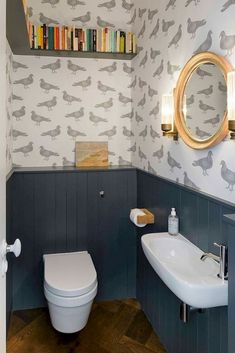 Space Saving Toilet Design For Small Bathroom Small Downstairs Toilet, Small Toilet Room, Downstairs Cloakroom, Cloakroom Sink, Wallpaper Toilet, Small Bathroom Wallpaper, Bathroom Small, Bathroom Ideas, Cloakroom Ideas