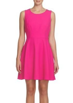 CeCe by Cynthia Steffe Hot MagentaBlack Bow Back Fit and Flare Dress