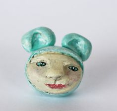 Folk Art primitive clay sculpture miniature - cute little mouse in aqua