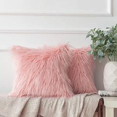 Amazon.com: Ashler Pack of 2 Decorative Luxury Style Pink Faux Fur Throw Pillow Case Cushion Cover 18 x 18 Inches 45 x 45 cm: Home & Kitchen Pink Pillows, Fur Throw Pillows, Fluffy Pillows, Throw Pillow Cases, White Faux Fur Throw, Pink Faux Fur, Decorative Cushions, Decorative Pillow Covers, Velvet Cushions