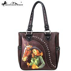 Montana West Vintage Look Cowgirl Rhinestone Lacing Brown Western Purse SALE…