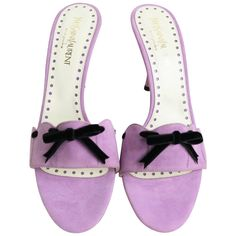 Yves Saint Laurent... Lavender Suede Bow-Embellished Sandals | From a collection of rare vintage shoes at https://www.1stdibs.com/fashion/accessories/shoes/