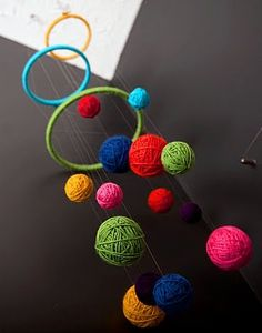 Yarn Ball Mobile-dilute glue, dip long pieces of yarn in glue, wipe off excess. bloow up a balloon part way, wrap yarn around to form a ball. When dry pop balloon, use them on your yarn mobile. If I ever have a craft room. This would have to be in there!