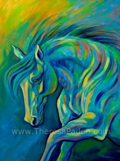 Large Expressive Colorful Horse Art by Theresa Paden  Large Expressive Colorful Horse Art Azure Wave By Theresa Paden  40 x 30 Acrylic paint on a 1.5 deep gallery-wrapped canvas with painted edges so a frame is not needed.  $1300.00 USD + shipping Email me to purchase safely with PayPal theresapaden@gmail.com