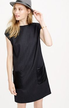 Faux-leather pocket shift dress