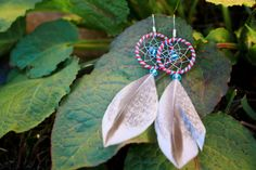 Red and Blue Striped Dream Catcher Earrings by nZuriArtDesigns