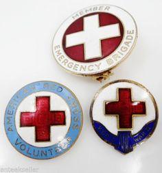 3 Different Enamel American Red Cross Pins Emergency Brigade Sterl WWII Nurse | eBay