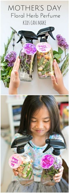 Kid-Made DIY Floral and Herb Perfume. Great idea for Mothers Day! Also a fun plant and flower craft for kids. - Diy For Teens Mothers Day Plants, Mothers Day Crafts For Kids, Diy For Kids, Mothers Day Ideas, Kids Crafts, Mothers Day Event, Craft Kids, Toddler Crafts, Mother Day Gifts