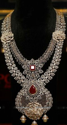 Two Layer Rose Design Diamond Set - Jewellery Designs
