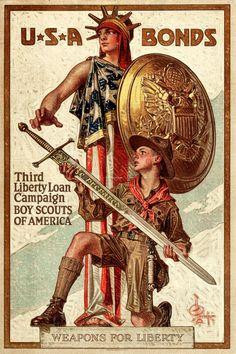 "World War I Propaganda (U.S. Government Printing Office, 1917). Third Liberty Loan Poster (20"" X 30"") ""Weapons for Liberty."""