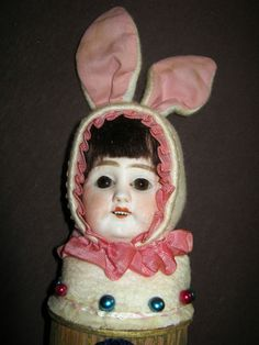 Antique  candy container-Easter Bunny/Rabbit doll head A M/glass eyes/Germany
