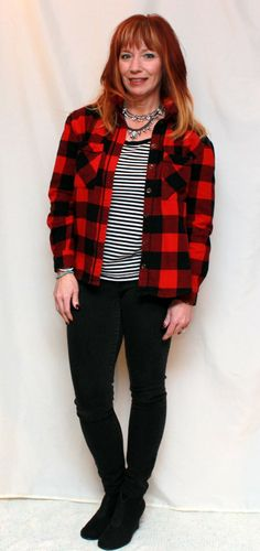 Fashion Fairy Dust red and black buffalo plaid shirt, plaid flannel shirt, black and white striped tee, striped tee, black skinny jeans, black ankle booties, layered statement necklaces
