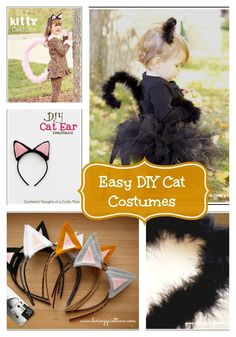 Here are some easy peasy DIY cat costume, ears and tail tutorials to get you all set for Halloween! At www.crayonsandcollars.com