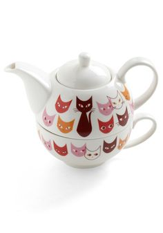 Get in Fe-line Tea Set, #ModCloth  Apparently this isn't available anymore, but I love it! If anyone can find it for purchase on the internets, or knows the name of the company that makes it, let me know!