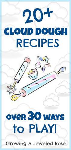 Over 20 different Cloud Dough Recipes- pumpkin, peppermint, rose, gingerbread… Sensory Activities, Sensory Play, Toddler Activities, Learning Activities, Sensory Motor, Cloud Dough Recipes, Experiment, Diy For Kids, Crafts For Kids