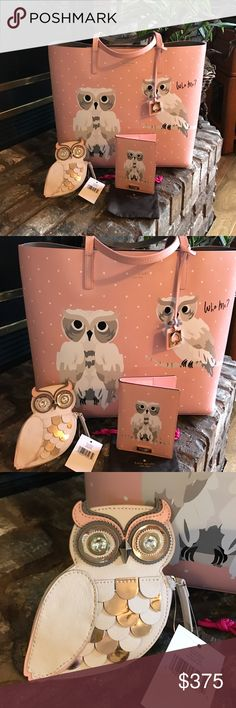 """KATE SPADE's""""Flight of Fancy Collection""""-Owl-3 set This is from Kate Spade's Collection"""" FLIGHT OF FANCY"""" featuring The 🦉 OWL!! This 3 piece set includes 1. The Extra Large Leather tote with a pouch inside and a zippered area 2. Is the OWL COIN PURSE, so cute the eyes are crystals and has copper sequins!! 3. Kate calls this a passport carrier, but I found you can also use it as a Wallet it works Perfect!! It has 7 slots for cc and id's the other side has one slot that cash money could go…"""